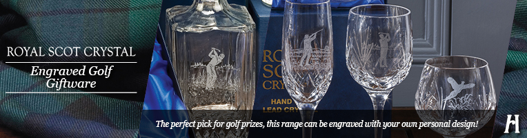 Royal Scot Crystal Engraved Golfer Drinking Glasses