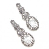 Marcasite and More Marcasite and Cubic Zirconia Pierced Earrings (12455)