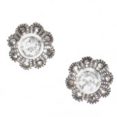 Marcasite and More Marcasite and Cubic Zirconia Pierced Earrings (12457)