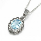 Marcasite and Blue Topaz Marcasite and Blue Topaz Necklace (12462)