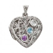 Marcasite and More Marcasite with mix stoned necklace locket (12465)