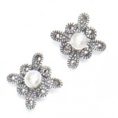 Marcasite and More Marcasite and Fresh Water Pearl Earrings (12823)