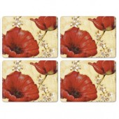 Pimpernel 4 Poppy de Villeneauve Large Tablemats (15318)