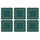 Classic Emerald Green Coasters Set of 6 (15359)
