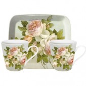 Pimpernel Antique Rose 2 Mugs and Tray Set (15409)