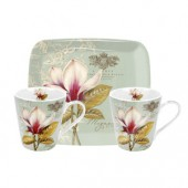 Floral Vintage Toile 2 Mugs and Tray Set (15415)