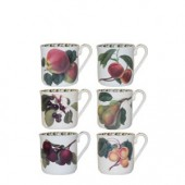 Hookers Fruit Set of 6 Mocha Coffee Cup and Saucers (15786)