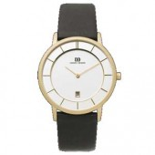 Mens Watches Mens Gold Plated Watch Leather Strap (16275)