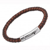 Unique Jewellery Darkbrown/Lightbrown Leather Bracelet (16285)