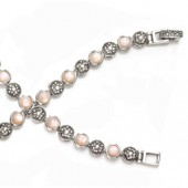 Marcasite and More Marcasite & Pink Mother of Pearl Bracelet (16303)