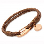 Unique Jewellery Bronze Leather Bracelet with Tag (16431)