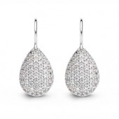 Silver Pear CZ  Earrings (16722)