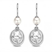 Silver White Pearl and CZ Earrings (16730)