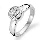 Ring Collection Sterling Silver CZ Solitaire Ring (16823)