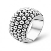 Ring Collection Sterling Silver Oxidized Wide Ball Ring (16837)