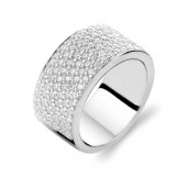 Ring Collection Sterling Silver CZ Wide Band Ring (16879)