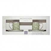 Monsoon by Denby Daisy Green Set of 2 Coffee Cups & Saucers (17838)