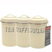 Typhoon Kitchenware Set of 3 Cream Enamel Tins (17897)