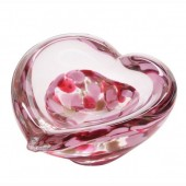 Caithness Glass Mini Heart Bowls Fuchsia (18135)