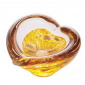 Caithness Glass Mini Heart Bowls Gold (18136)