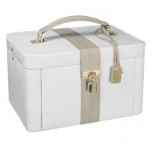 Dulwich Designs Large Cream and Mink Leather Jewellery Box (18762)