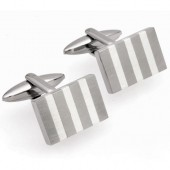 Unique Jewellery Silver Inlay Stainless Steel Cufflinks (19030)