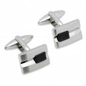 Unique Jewellery Black Onyx Steel Cufflinks (19033)
