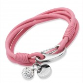 Pink Leather Bracelet with Crystal Ball (19043)
