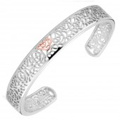 Royal Roses Silver and 9ct Rose Gold Bangle (19116)