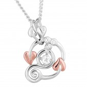 Origin Silver and 9ct Rose Gold Necklace with White Topaz (19150)