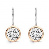 Silver Collection Zirconia and Rose Gold Earrings (20101)