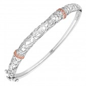 Am Byth Silver and Rose Gold Am Byth Bangle (20698)