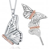 Butterfly Silver and 9ct Rose Gold Butterfly Locket and Earrings (20702)