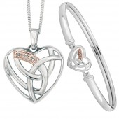 Eternal Love Silver and 9ct Rose Gold Eternal Love Necklace and Bangle (20705)