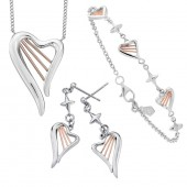 Heartstrings Silver and 9ct Rose Gold Heartstrings Necklace Earrings and Bracelet (20707)