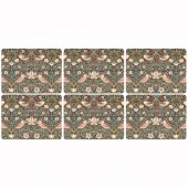 William Morris Strawberry Thief Brown Placemats - Set of 6 (21307)