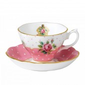 Cheeky Pink Vintage Teacup and Saucer (21357)