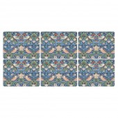 William Morris Strawberry Thief Blue Placemats - Set of 6 (21758)