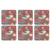 William Morris Stawberry Thief Red Coasters Set of 6 (21761)