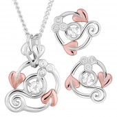 Origin Silver and 9ct Rose Gold Necklace and Earrings with White Topaz (21772)