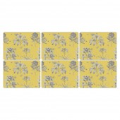 Pimpernel Etchings and Roses Yellow Placemats - Set of 6 (21815)