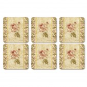 Pimpernel Antique Rose Linen Coasters Set of 6 (21825)