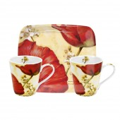 Pimpernel Poppy De Villeneuve Mugs and Tray Set (21977)