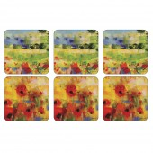 Impressionist Flowers Yellow Coasters Set of 6 (22113)