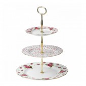 New Country Roses White Vintage 3 Tier Cake Stand (22183)