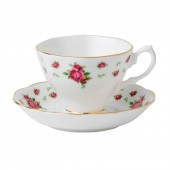 New Country Roses White Vintage Teacup and Saucer (22186)