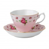 New Country Roses Pink Vintage Teacup and Saucer (22187)