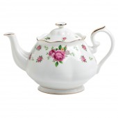 New Country Roses Large White Vintage Teapot (22193)