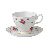 New Country Roses White Vintage Espresso and Saucer (22199)