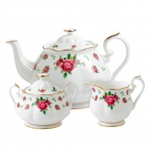 New Country Roses White Vintage Teapot, Sugar & Creamer (22220)
